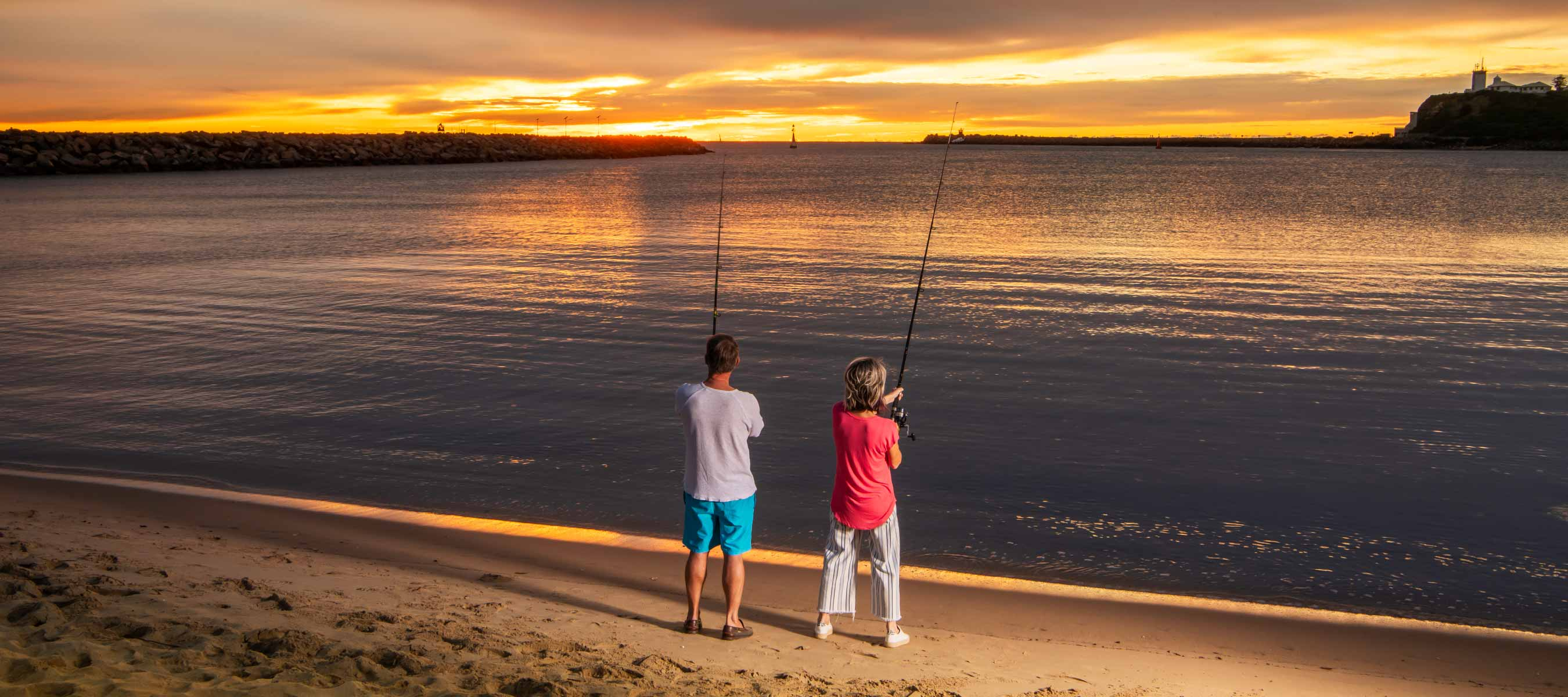 Fishing at Little beach at dawn